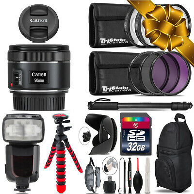 Canon EF 50mm f/1.8 STM Lens + Professional Flash & More - 32GB Accessory Kit