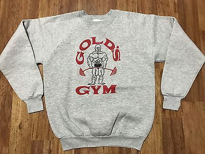 Vtg 80s Fruit Of The Loom Gold's Gym Workout Gym Gray Sweatshirt S/M Made USA