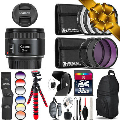 Canon EF 50mm f/1.8 STM Lens + Graduated Color Filter - 32GB Accessory Kit