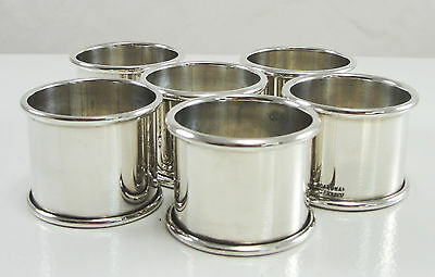 Boardman Silversmiths Inc Sterling Silver Napkins Ring Set of 6 Round Holder USA