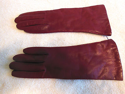 Women's Driving Gloves-Nordstrom-Size 7-Maroon-Leather-Wrist-New-Excellent