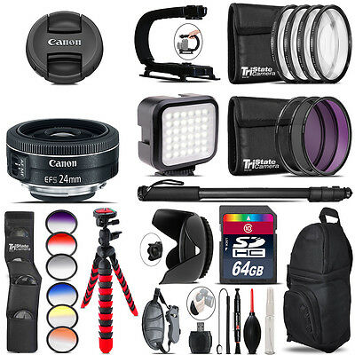 Canon EF-S 24mm f/2.8 STM Lens - Video Kit + Color Filter - 64GB Accessory Kit