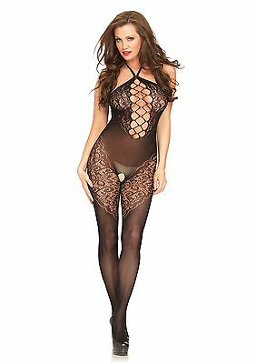 Seamless Opaque Halter Bodystocking with Lace - Leg Avenue 89188