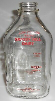 Milk Bottle Grassy Hill Dairy Woodburry Ct 1/2 Gallon Glass Bottle