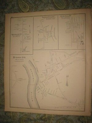 Antique 1892 Hillsborough Bridge Hudson Merrimack Ferry New Hampshire Map Rare