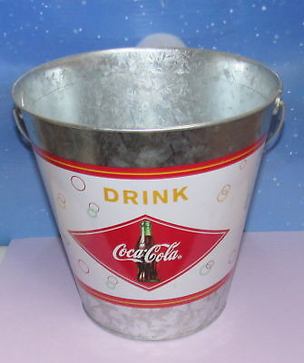 Coca Cola Galvanized Metal Pail Bucket With Wooden Red Handle