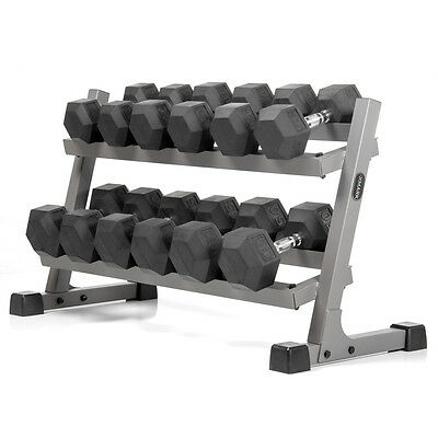 XMark Two Tier Dumbbell Rack and 450 lbs of Rubber Hex Dumbbells XM-4455-AND-450