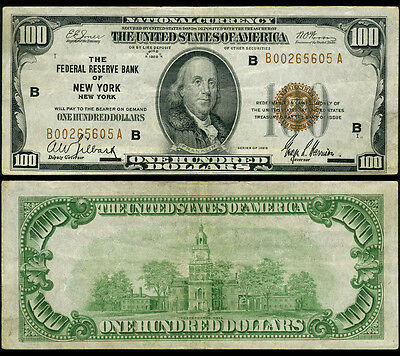 FR. 1890 B $100 1929 Federal Reserve Bank Note New York Very Fine+