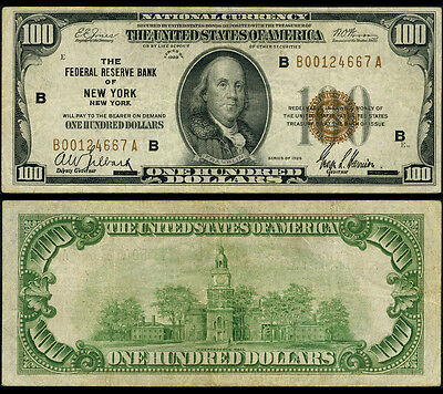 FR. 1890 B $100 1929 Federal Reserve Bank Note New York Very Fine