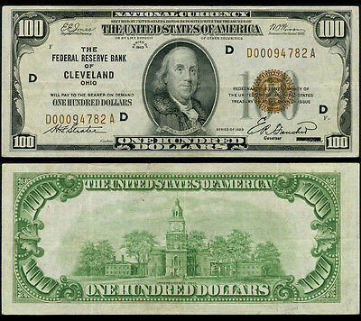 FR. 1890 D $100 1929 Federal Reserve Bank Note Cleveland Very Fine+