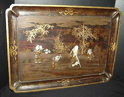Antique Japanese Edo Meiji Large Gold Lacquer Inlaid Shibayama Samurai Wall Tray