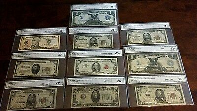 RARE LOT OF 10 CURRENCY NOTES $100, $50, $20, $10, $1.00. $352.00 Face Value