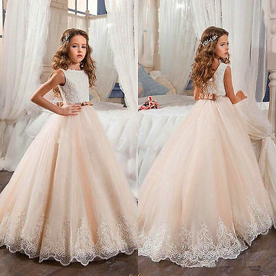 2017 Vintage Flower Girl Dresses For Weddings Lace Bow Kids First Communion Gown