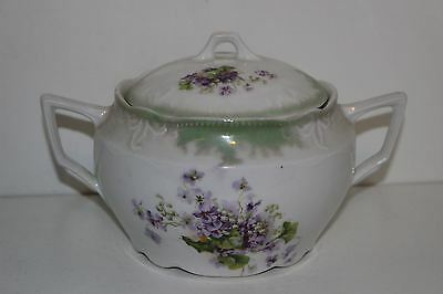 Vintage Porcelain Cracker/biscuit Jar-Purple Flowers-Germany