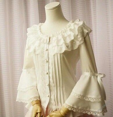 f60a4314d8c Womens Gothic Ruffles Lolita Lace Pure Princess Cosplay Blouses Shirt Tops  Size