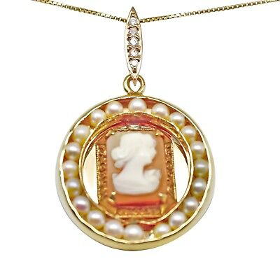 Cameo, Pearl & Diamond Pendant 18k with 14k solid gold box chain - NEW handmade