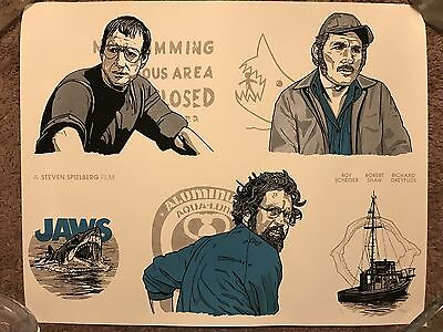 Jaws Hooper Quint Brody Orca New Flesh N.E. Movie Art Print Poster Mondo Shark