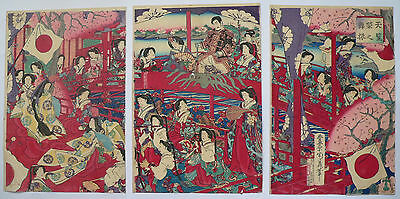 1897 Japanese Original Old Antique Woodblock Print Triptych Of Beauties