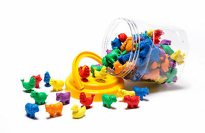 Counters for Maths Farm Animals 72 pieces Different Shapes Sizes Colours