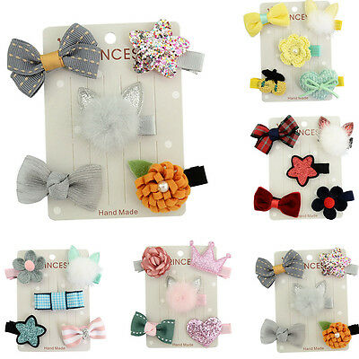 5Pcs/set Kids Infant Hairpin Baby Girl Hair Clip Bow Flower Mini Barrettes Star