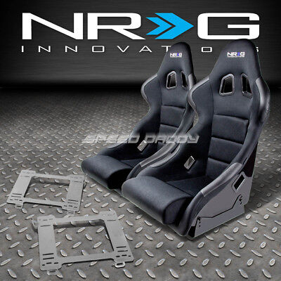 Nrg Type-R Deep Bucket Racing Seats+Stainless Steel Bracket For 99-05 Miata Mx5