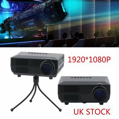 1080P HD LED Single LCD Projector Home Theater Cinema Multimedia HDMI USB AV UK