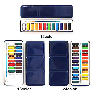 Professional 12/18/24 Color Solid Watercolor Paints Drawing Brush With Metal Box