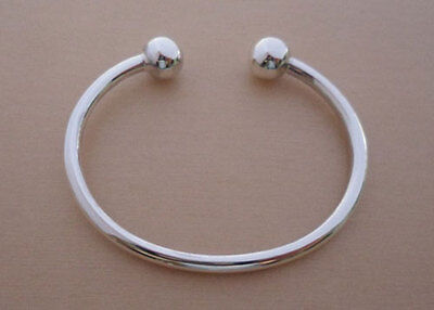 925 Sterling Silver Solid Child's, Baby's   Christening Torque BANGLE, Bracelet