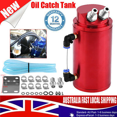 Billet Aluminum Car Racing Engine Oil Catch Tank Can Reservoir Round Hose Kit AU