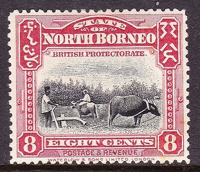 NORTH BORNEO 1909 8 cents Lake & Black SG169 MH