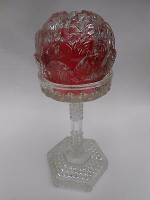 Vict.Applied Leaves ** CLARKES FAIRY LAMP ** on Pedestal Stand with Footed Base