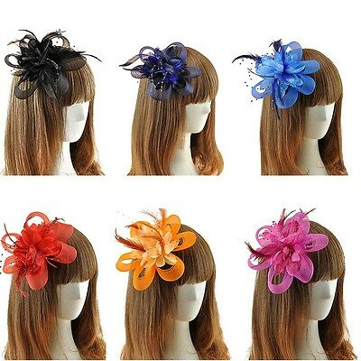 Trendy Lady Feather Fascinator Floral Hair Clip Headband Wedding Party Cocktail