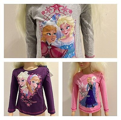 Authentic Disney Frozen Girls Long Sleeve T-Shirt Top With Glitter Sizes 4-8