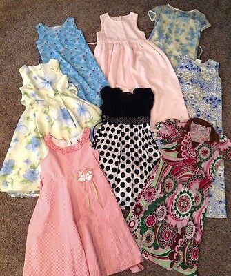 Girls Dress Blue Green Pink Black Dots Flowers Size 7 8 10 12 Pick One
