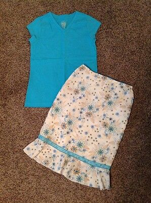 Girls Blue Shirt And Blue Brown Flowers Skirt Size 6x/7/8