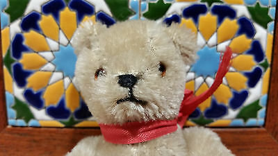 vintage small 6'' mohair teddy bear toy jointed glass eyes