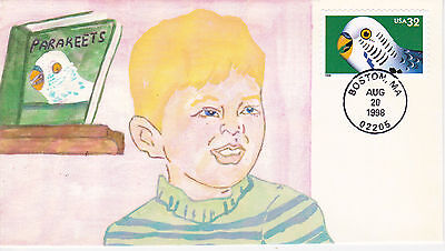 Unk. Cachet Maker First Day Cover Fdc 1998 Parakeets Issue Boy Book Pets Birds