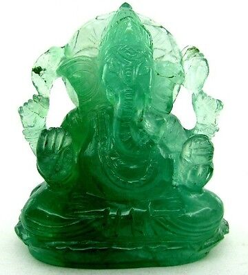 Rare 1480Ct Lord Ganesha Idol Green Fluorite Carved Sculpture Art