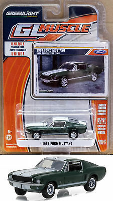 1967 Ford Mustang Green White Stripes GL Muscle Series 1:64 GreenLight 13170