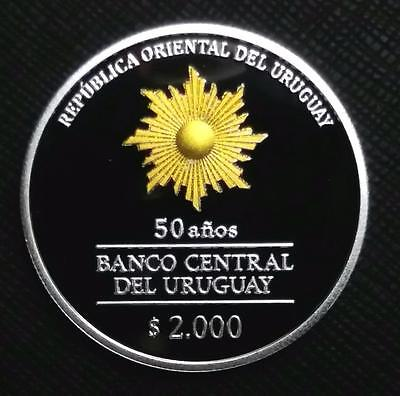 2017 URUGUAY 2000 PESOS - 50th ANNIVERSARY CENTRAL BANK - NEW PROOF SILVER COIN