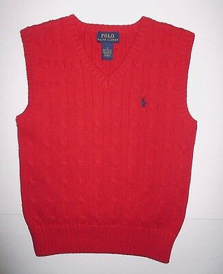 Boys Polo By Ralph Lauren Red Cable Knit V-Neck Sweater Vest Size 5