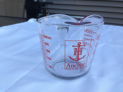 Vintage Anchor Hocking 2  Cup - 500ml Size - Sturdy Glass Measuring Cup  Red USA