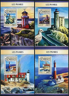 Djibouti 2017 Lighthouses  Set Of Four Deluxe Souvenir Sheets Mint Never Hinged