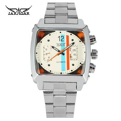 JARAGAR Men Square Mechanical Self-Winding Wrist Watch Date Day Stainless Steel