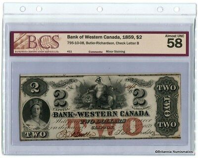BANK OF WESTERN CANADA 1859 $2 795-10-08 Butler-Richardson BCS AU-58  Inv #1288