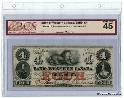 BANK OF WESTERN CANADA 1859 $4. 795-10-12 Butler-Richardson BCS EF-45  Inv #2935