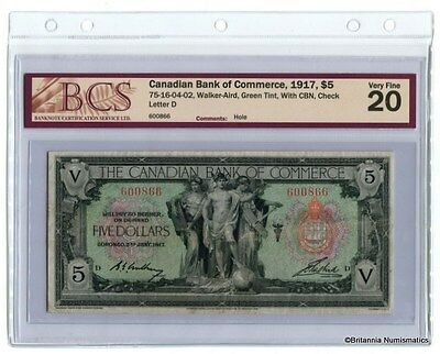 CANADIAN BANK OF COMMERCE 1917 $5 75-16-04-02 Walker - Aird BCS VF-20  Inv #2017