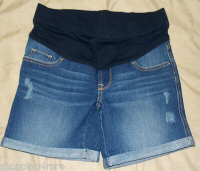 Oh Baby by Motherhood Distressed Blue Jean Maternity Shorts Small