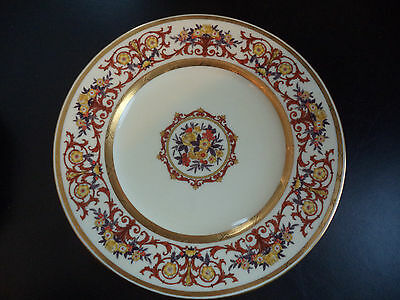 Antique Vintage Minton China Gold Encrusted Jeweled Enamel Cabinet Plate Charger