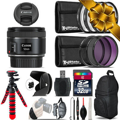 Canon EF 50mm f/1.8 STM Lens + Macro Filter Kit & More - 32GB Accessory Kit